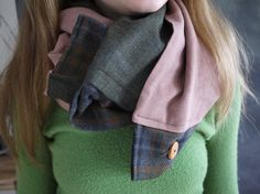 Infinity Button Scarf // Hunter Green Wool // Rust by Stitch803, $42.00