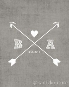 CUSTOM Typography Print - GREY DISTRESSED background with arrows and initials - Nursery Art  - Wedding Art -  Size 8x10