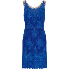Marchesa Notte Embellished lace-appliquéd tulle dress (€495) ❤ liked on Polyvore featuring dresses, royal blue, sequin dress, beaded lace cocktail dress, sequin cocktail dresses, tulle dress and blue sequin dress