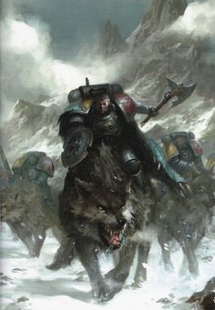 Space Wolves/Vlka Fenryka, Thunderwolf Cavalry (Wide)