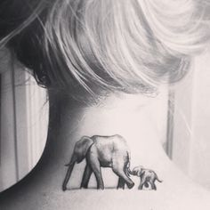 elephant tattoo mother and child