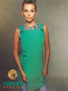 Campaign: Versace  Season: Fall 1994  Photographer: Richard Avedon  Model(s): Nadja Auermann, Cindy Crawford, Claudia Schiffer, Stephanie Seymour, Christy Turlington, Bridget Hall