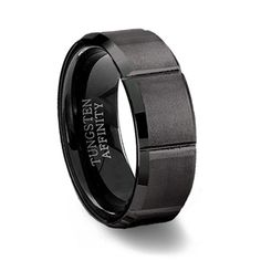 Black Slotted Men's Tungsten Ring | Brushed Tungsten Carbide Band