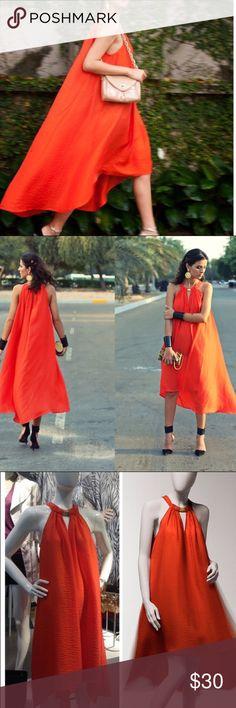 Orange H&M Dress Gorgeous orange flowy dress feat. a gold collar neckline ✨  Pet and smoke free home! H&M Dresses
