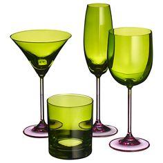 John Lewis Two Tone Glassware, Green/Pink