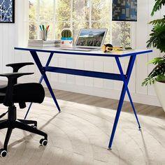 Ellington Blue Desk | Modern Home Office Desk | Pop of Color | Perfect For Home Office or Kids Room | Eurway