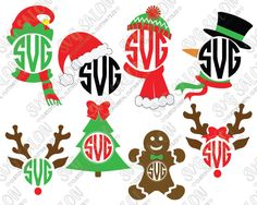 Christmas Circle Monogram Custom DIY Iron On Cutting File Set in SVG, EPS, DXF, JPEG, and PNG Format