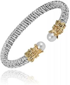Alwand Vahan Bracelet - Sterling Silver, 14 Karat Yellow Gold, Diamonds and Pearl All Southern Girls need Pearls!!