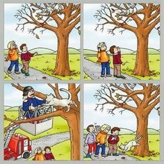Cat in a tree sequence Preschool Education, Preschool Learning, Preschool Activities, Sequencing Worksheets, Sequencing Cards, Story Sequencing Pictures, Composition D'image, Picture Comprehension, Writing Pictures