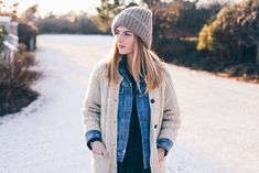 Fisherman Cardigan Sweater and Shopbop Knit Beanie on Prosecco & plaid
