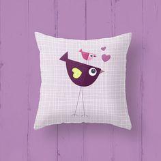 Kids pillow case. Children's cushion cover Lovebirds by Lespetitsbuttons