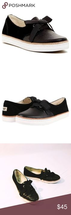 UGG Carilyn black suede sneaker bow flats Cute sneaker type flats with satin bow. Worn a handful of times. Runs small is an 8.5 but listed as 8 UGG Shoes Flats & Loafers