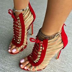 Red and Gold Gladiator Sandals Open Toe Lace up Heels image 1