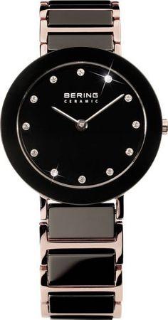 Bering Time Lady Rose Gold Black Ceramic Watch Swarovski Crystal 11429-746 Women