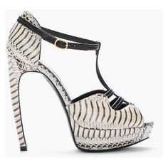 ALEXANDER MCQUEEN Beige Leather Tiger Snake Print T-Strap Heels ❤ liked on Polyvore featuring shoes, pumps, stiletto pumps, beige peep toe pumps, leather peep toe pumps, snake pumps and snake print shoes