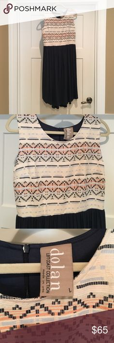 Anthropologie Dress Gorgeous Anthropologie navy & embroidery dress has never been worn the bottom of dress is a jersey cotton material Anthropologie Dresses Midi