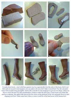 How to mini shoes.  @April Cochran-Smith Lognon , I promise not to cut the clay with anything sharper than a butter knife!  ;-)