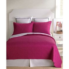 Trina Turk Santorini Fuschia Twin Coverlet ($180) ❤ liked on Polyvore featuring home, bed & bath, bedding, quilts, fuschia, cotton bedding, twin bedding, twin bed linens, fuchsia bedding and cotton coverlet