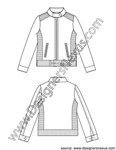 Moto Jacket Flat Sketch V3 with Smocked Side Panels and Buckled Waistband Hem