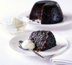 Guinness pudding with Whisky cream. Soaking the fruit in Guinness really plumps it up and gives a rich, dark pudding without the bitterness of brandy or rum
