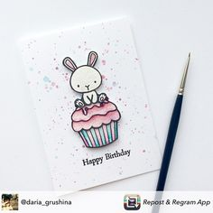 Simply Beautiful 👌 Card by Birthday Doodle, Birthday Card Drawing, Creative Birthday Cards, Kids Birthday Cards, Hand Made Greeting Cards, Greeting Cards Handmade, Carnival Cupcakes, Mama Elephant Stamps, Birthday Card Sayings