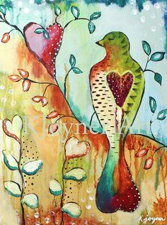 'Abounding Heart'  Bird Painting Art by Kendra Joyner