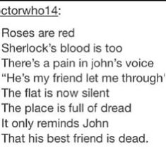 Sherlock poem ~ too many feels << ouch Sherlock Fandom, Sherlock Quotes, Sherlock John, Sherlock Holmes, Sad Poems, Sad Quotes, Dr Watson, Sherlolly, 221b Baker Street