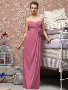 (NO.018606 )A-line Sweetheart  Hand-Made Flower Sleeveless Floor-length Chiffon Fuchsia  Bridesmaid Dress / Prom Dress / Evening Dress