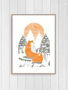 Orange fox geometric illustration design artwork kid nursery wall decor white and grey