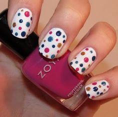 shiny nail art with glitter polish and polka dots!