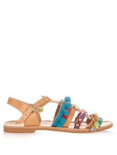 Maude embellished leather flat sandals | Elina Linardaki | MATCHESFASHION.COM UK