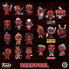 Deadpool mystery minis are coming out soon! The regular set was shown off at NY Toy Fair. Funko Pop Dolls, Funko Pop Figures, Pop Vinyl Figures, Deadpool Funko Pop, Funko Pop Marvel, Marvel Pop Vinyl, Funko Pop List, Funko Mystery Minis, Pop Toys