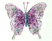 Beaded butterfly embroidered fabric art greeting card -  needlework art for framing - handmade patchwork art quilt card - blank inside https://www.etsy.com/listing/242021674/beaded-butterfly-embroidered-fabric-art?ref=tre-2725210679-4