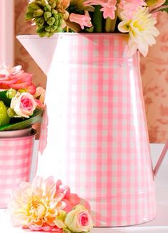 """Find creative ways, like this pitcher, to bring in pink gingham print. It lends to the """"southern country/farm and picnic"""" theme, but the pink softens it up and makes it a bit more baby/girly."""