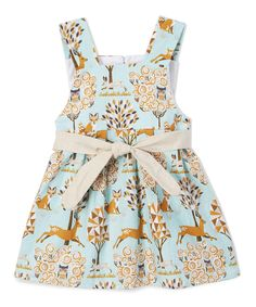 Take a look at this Caught Ya Lookin' Light Blue & Beige Deer Swing Dress - Infant & Toddler today!