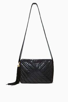 Vintage Chanel Black Leather Shoulder Bag
