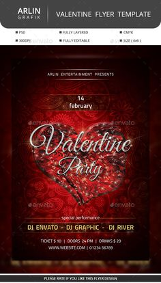 Valentine Party Flyer — Photoshop PSD #bash #valentine • Available here → https://graphicriver.net/item/valentine-party-flyer/10041205?ref=pxcr