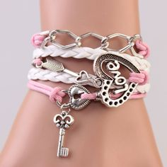 Sliver chain,stone mandrel,love lock and key,Heart-shaped Love charm bracelet,Pink and White chain,Leather bracelet,Wax rope bracelet.#IB710...