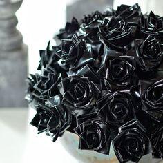 Black duct-tape rose bouquet  DIY