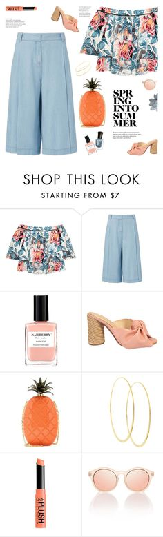 """""""pineapple clutch"""" by jesuisunlapin ❤ liked on Polyvore featuring Elizabeth and James, Deborah Lippmann, Diane Von Furstenberg, Nailberry, Paloma Barceló, Valentino and Lana"""