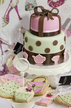 Tea Party, two tier birthday cake with fondant bow.