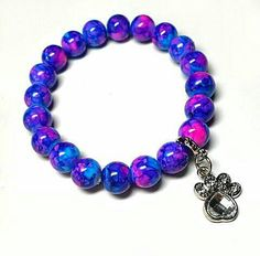 SALE Abstract Swirled Hot Pink Purple & Blue Painted Stretch Bracelet w/Silver Dangling Crystal Gem Pet Paw Removable Charm FREE SHIPPING - Only $6.25 on Etsy! https://www.etsy.com/listing/237135420/sale-abstract-swirled-hot-pink-purple