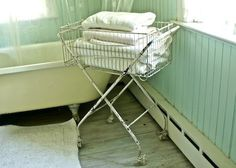 Vintage Inspired Laundry Basket great use in the bathroom! Lucketts
