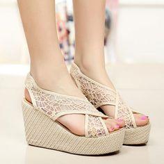 littledaisy | Mesh Cutout Braided High Wedge Heel Peep Toe Sandal | Online Store Powered by Storenvy