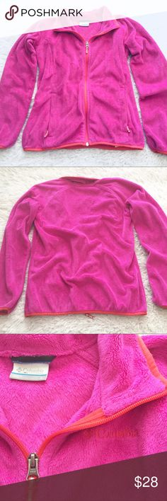 Girls Columbia Fleece Zip Up Sweater Pink and red. No stains or holes. 2 front zipper pockets. Great condition. Columbia Shirts & Tops Sweaters