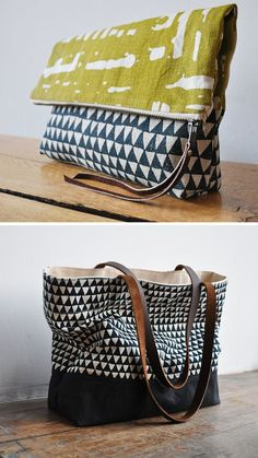 Lovely screen-printed hemp canvas totes and clutches from Bookhou at Home.