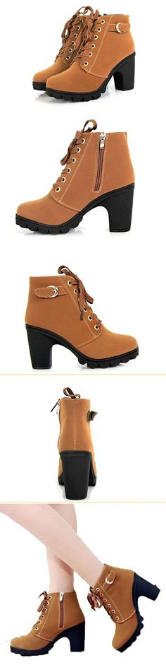 Platform High Heel Single Shoes Vintage Women Motorcycle Boots Martin Boots (Brown, 40)