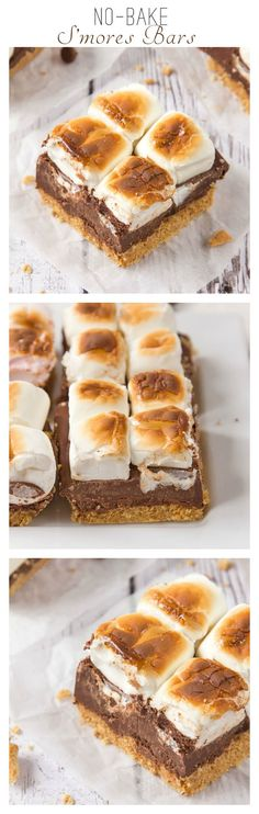 These divine No-Bake S'mores Bars are just perfect for super hot days! Layers of crushed biscuits, melted chocolate and fluffy marshmallows toasted and then set in the fridge before being sliced into bars; even the kids can get involved!
