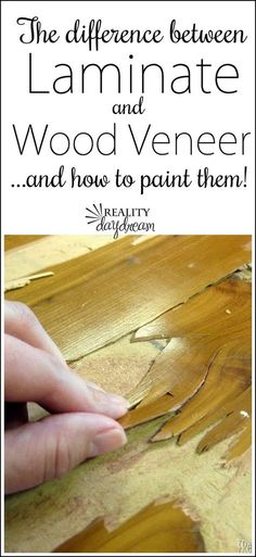 The difference between laminate and wood veneer, and how to paint them! {Reality Daydream} What's the difference between laminate and wood veneer? Here are some key differences between the two wood finished plus tips on how to paint both! Painting Laminate Furniture, Paint Furniture, Rustic Furniture, Painting On Wood, Furniture Ideas, Diy Painting, Farmhouse Furniture, Furniture Stores, Antique Furniture