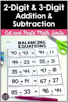 Does your class need practice balancing equations? Cut and paste sorts really keep my 2nd grade students engaged during math centers and their 2-digit and 3-digit addition and subtraction skills are growing! I love that these activities are so hands-on! T